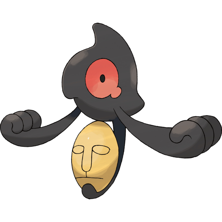 This small, teary-eyed ghost Pokemon holds an Egyptian-style mask.