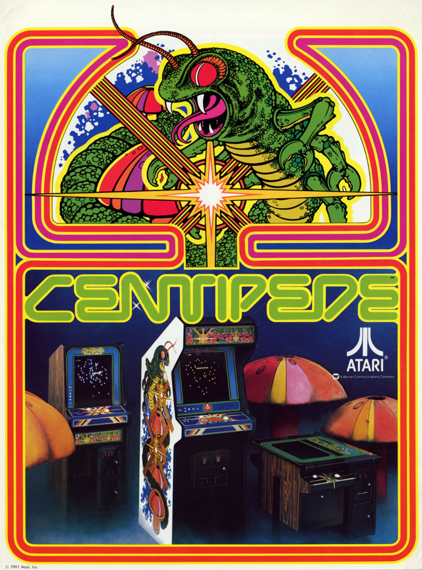 Promotional flyer for Centipede featuring a giant centipede and arcade cabinets