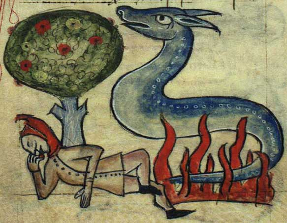 Medieval drawing of a guy chilling out under a tree next to a fiery salamander, like you do