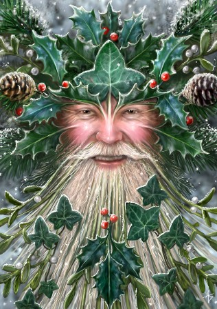 A jolly old man with a long white beard. Holly leaves and pine cones are woven into his hair.